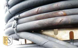 Electrical cables with cracks in the outer sheath have been damaged by rough environment conditions.