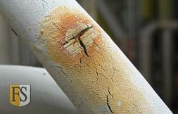 This electrical cable is damaged by UV causing the outer sheath to crack.