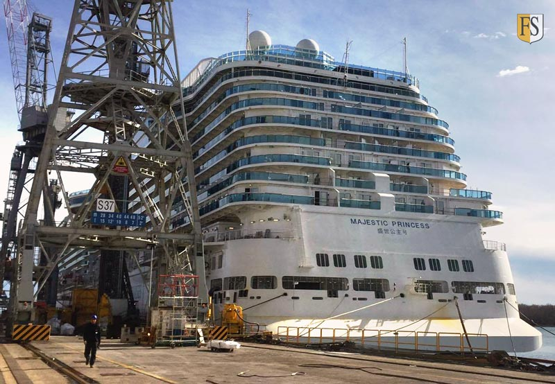 Majestic Princess under construction at Fincantieri Shipyard in Italy - cable fire protection by Fire-Security