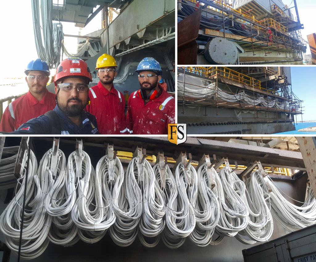 FS Middle-East application team on board Egyptian Drilling Company Rig Zoser doing repairs and cable coating