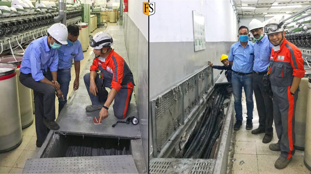 Fire Security Asia Pacific conduct a cable survey inside a textile mill in Indonesia