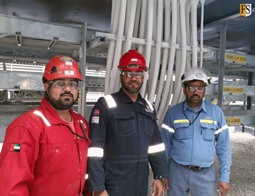 Fire Security Middle East team at completion of cable coating application within ALBA - Aluminium Bahrain