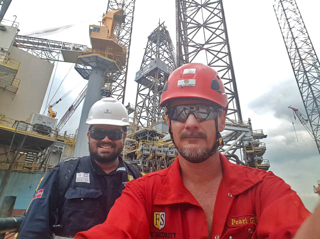 Fire Security - Paul Filby and Amjith surveying the Maersk Completor at Keppel Fells Shipyard in Jurong Singapore